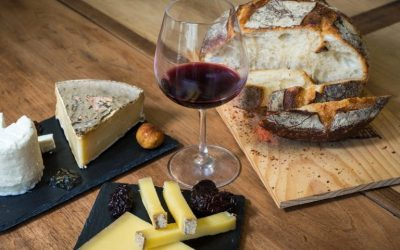 Bread, cheese and a glass of wine