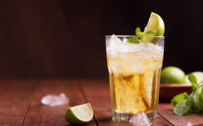 cocktail with ginger beer and lime